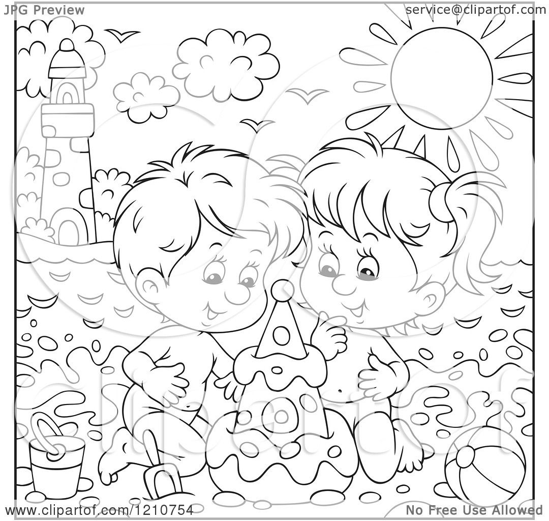 Clipart Of Outlined And Colored Children Building A Sand