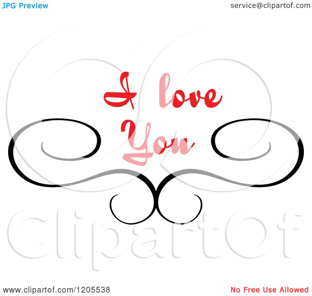 Clipart Of Red I Love You Text With Swirls 3