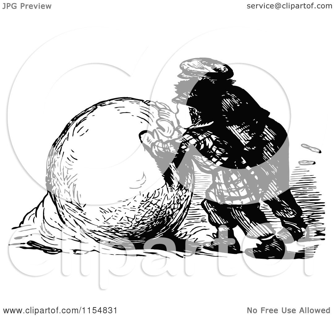 Clipart Of Retro Vintage Black And White Boys Making A