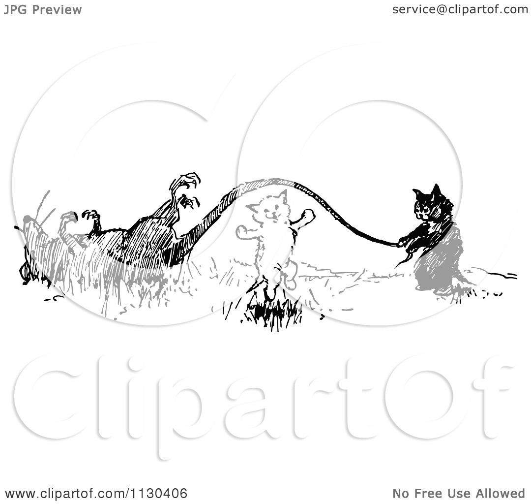 Clipart Of Retro Vintage Black And White Cats Playing Jump