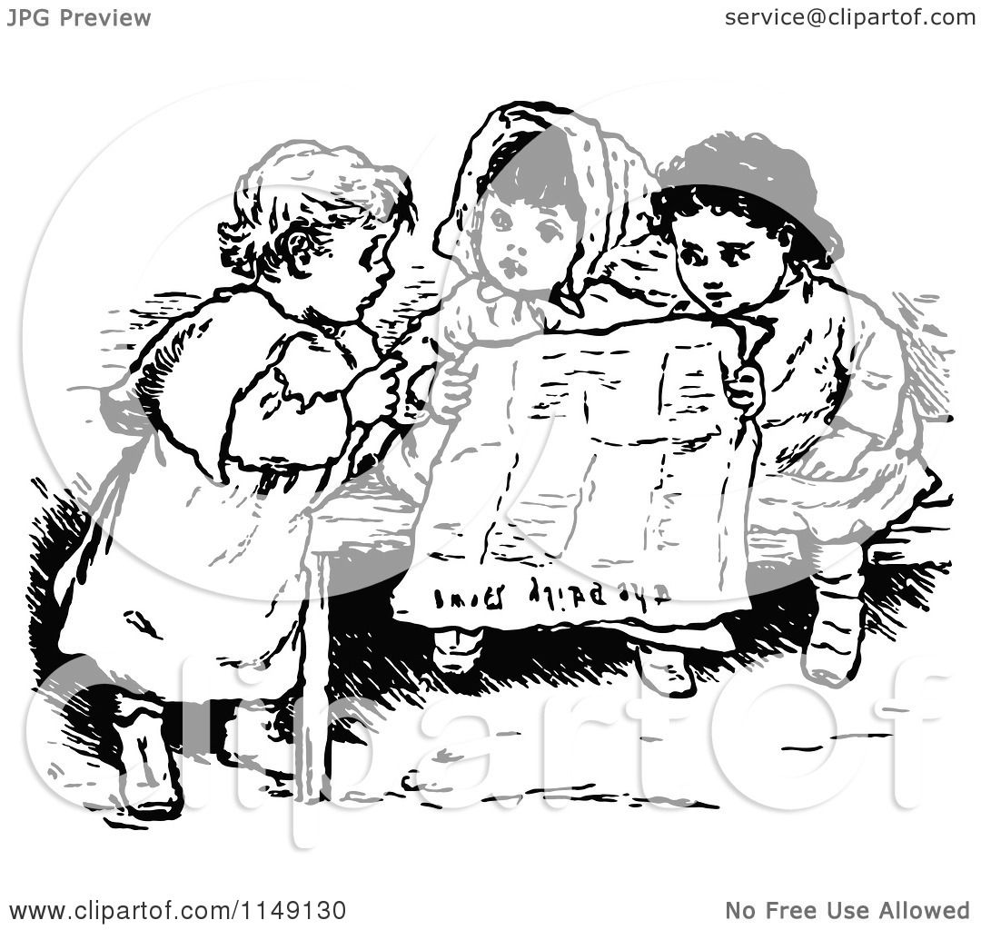 Clipart Of Retro Vintage Black And White Children Reading