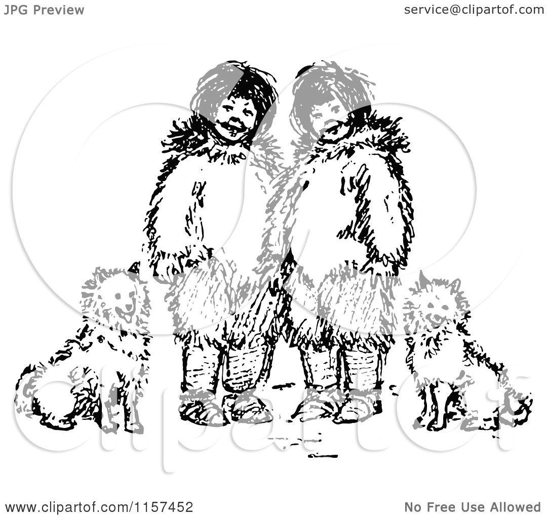 Clipart Of Retro Vintage Black And White Eskimo Kids And