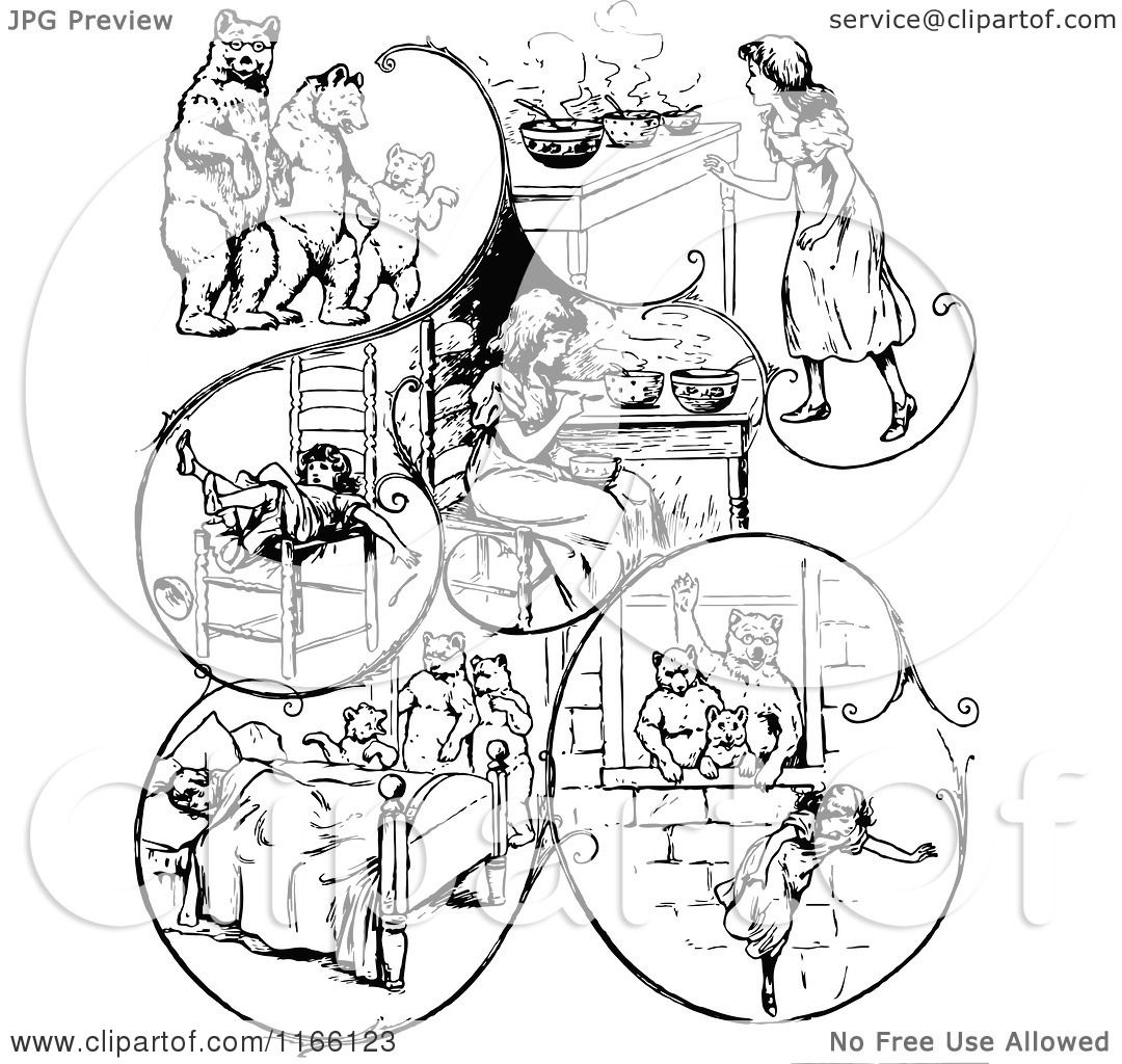 Clipart Of Retro Vintage Black And White Goldilocks And