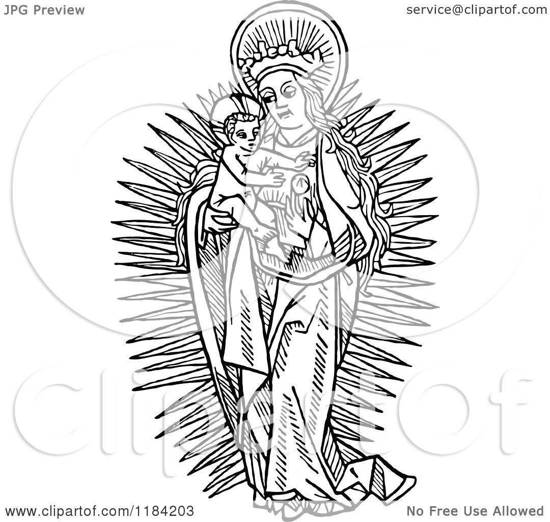 Clipart retro vintage black and white mary holding baby, jesus love coloring pages