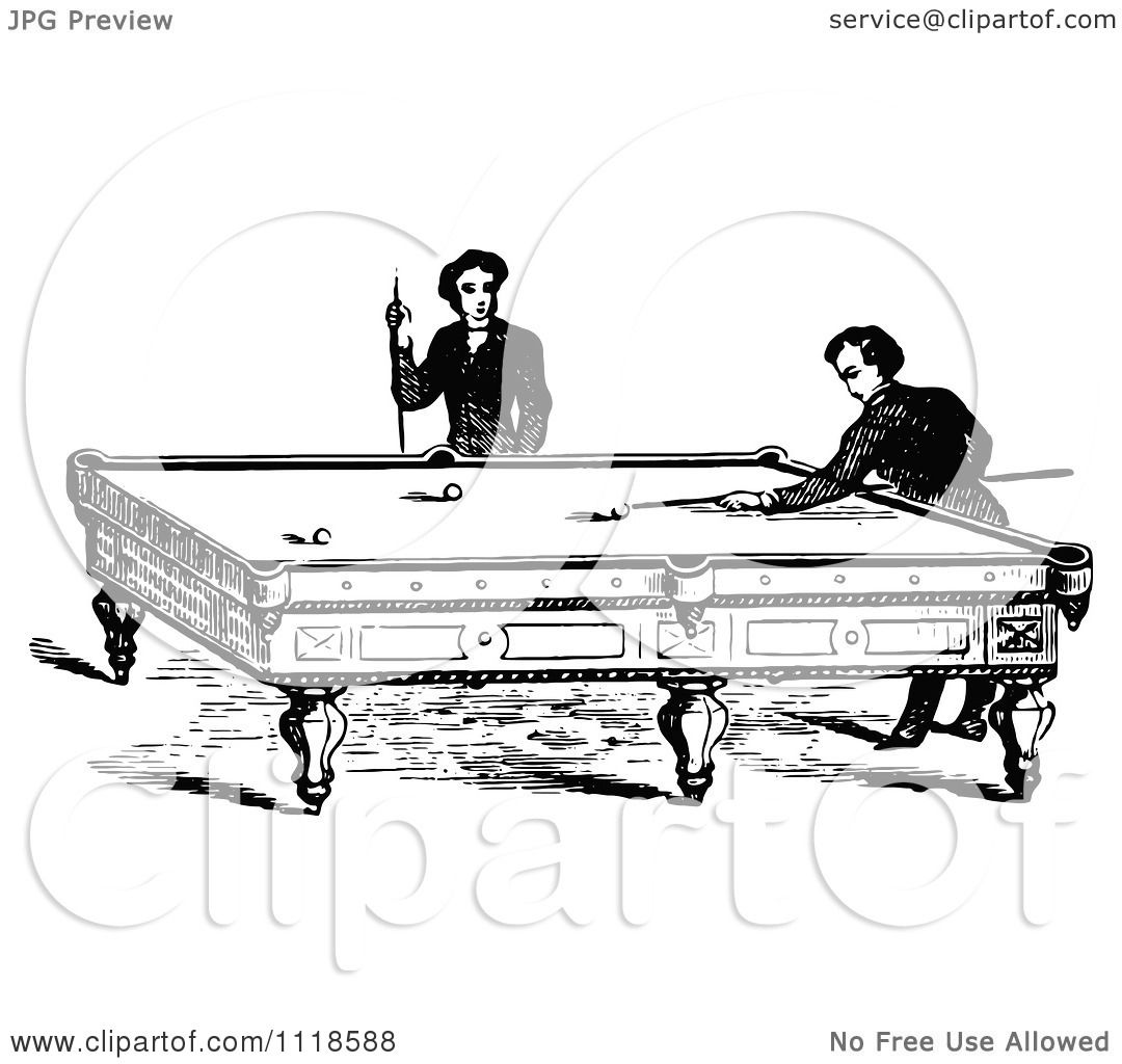 Clipart Of Retro Vintage Black And White Men Playing A