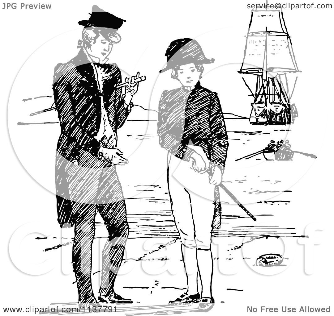 Clipart Of Retro Vintage Black And White Navy Men On A