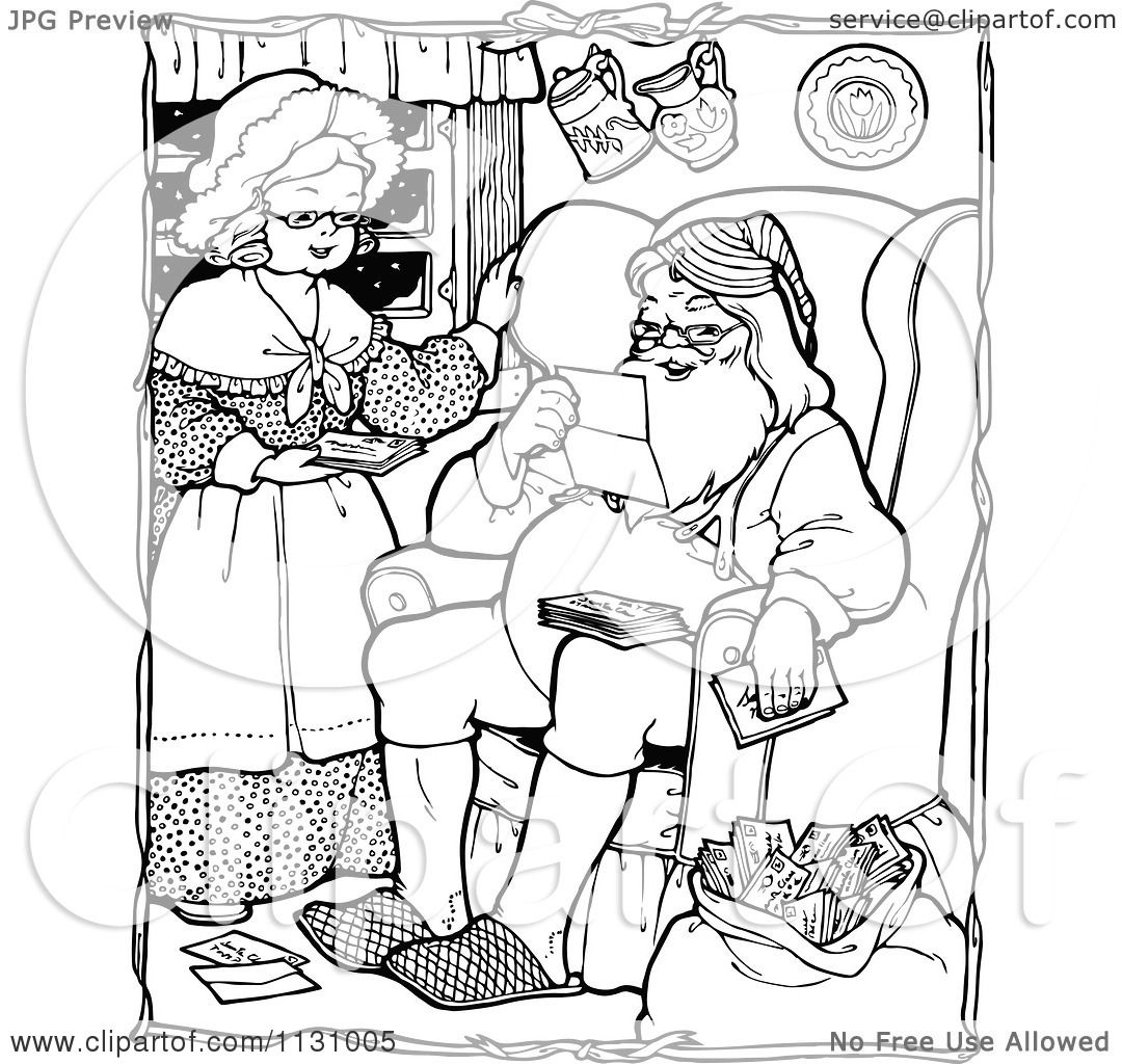 Clipart Of Retro Vintage Black And White Santa And Mrs