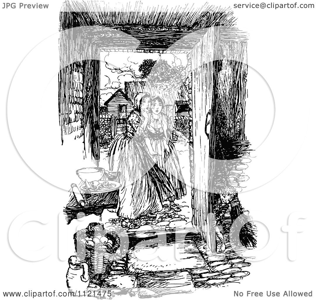 Clipart Of Retro Vintage Black And White Women At An Open