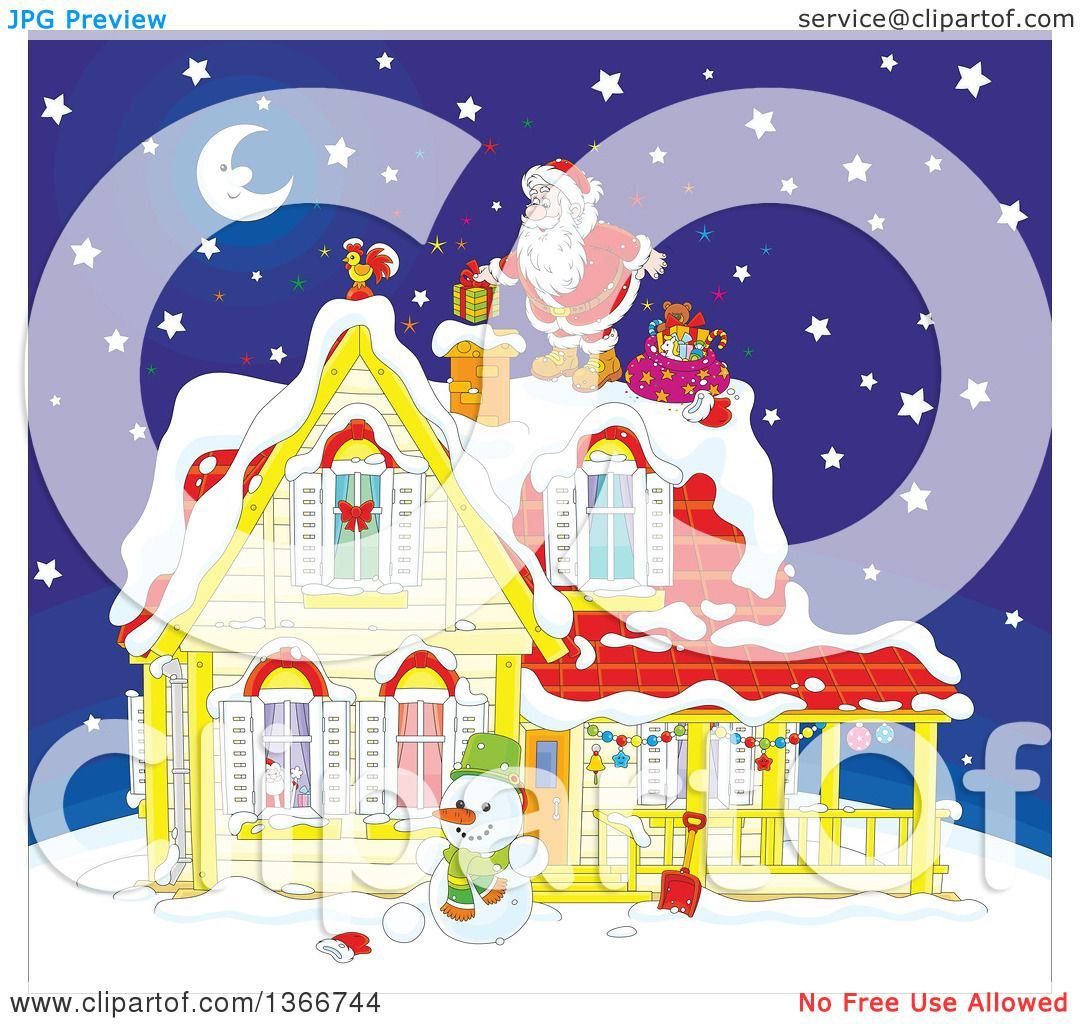 Clipart Of Santa Claus On A Roof Top Dropping A Gift Down