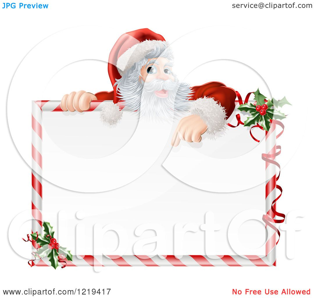 Clipart Of Santa Pointing Down At A Candy Cane Frame Sign