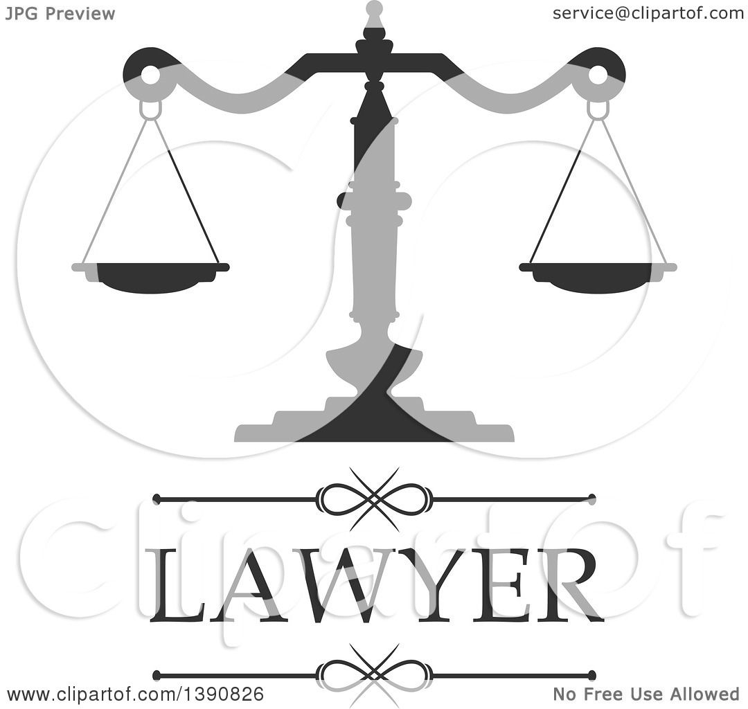 Clipart Of Scales Of Justice With Lawyer Text