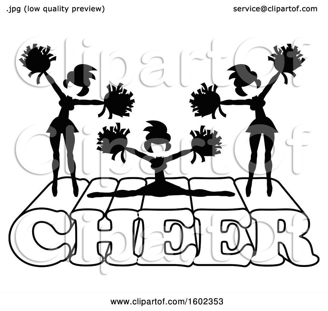 Clipart Of Silhouetted Cheerleaders In Black And White