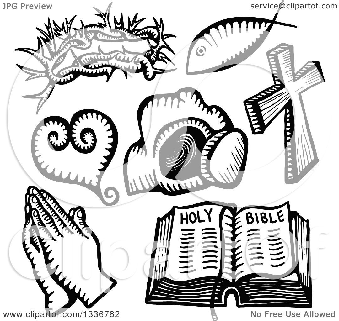 Clipart Of Sketched Doodles Of Black And White Christian
