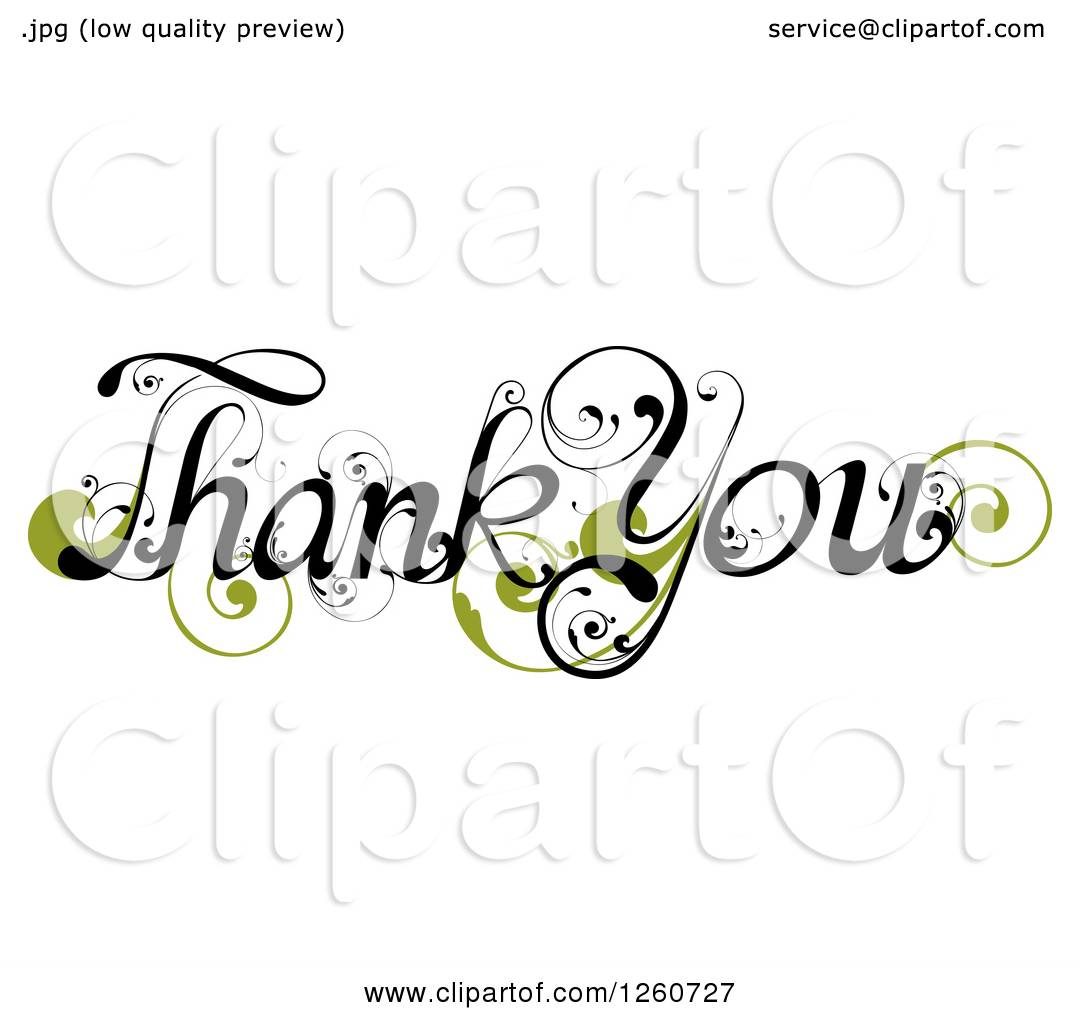 Clipart Of Thank You Text With A Green Flourish