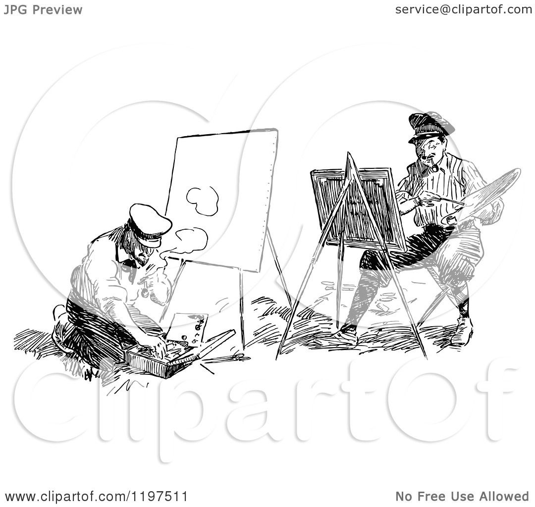 Clipart Of Vintage Black And White Artists Painting