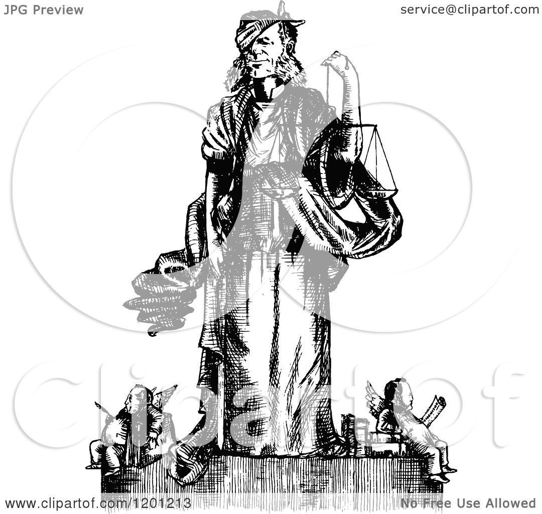 Clipart Of Vintage Black And White Law And Justice