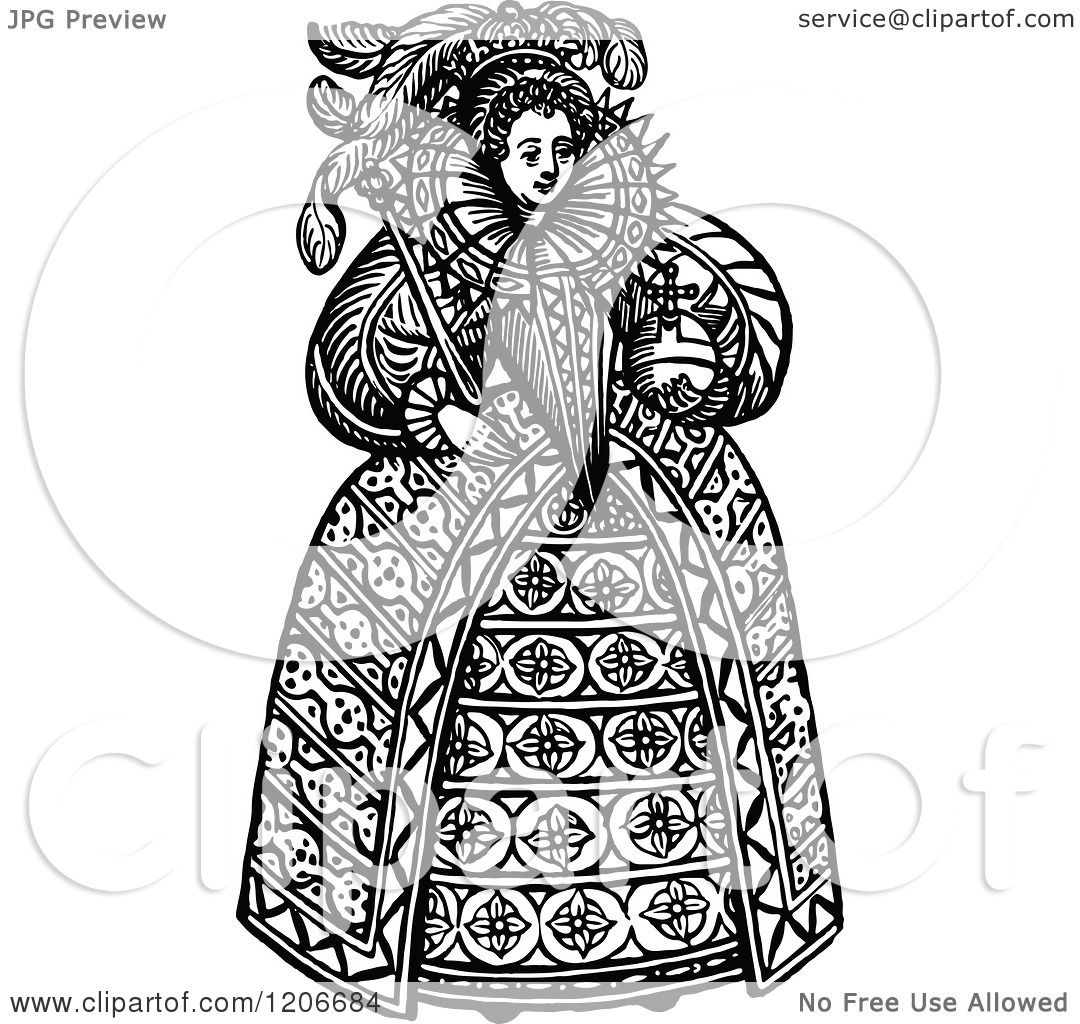 Clipart Of Vintage Black And White Queen Elizabeth The