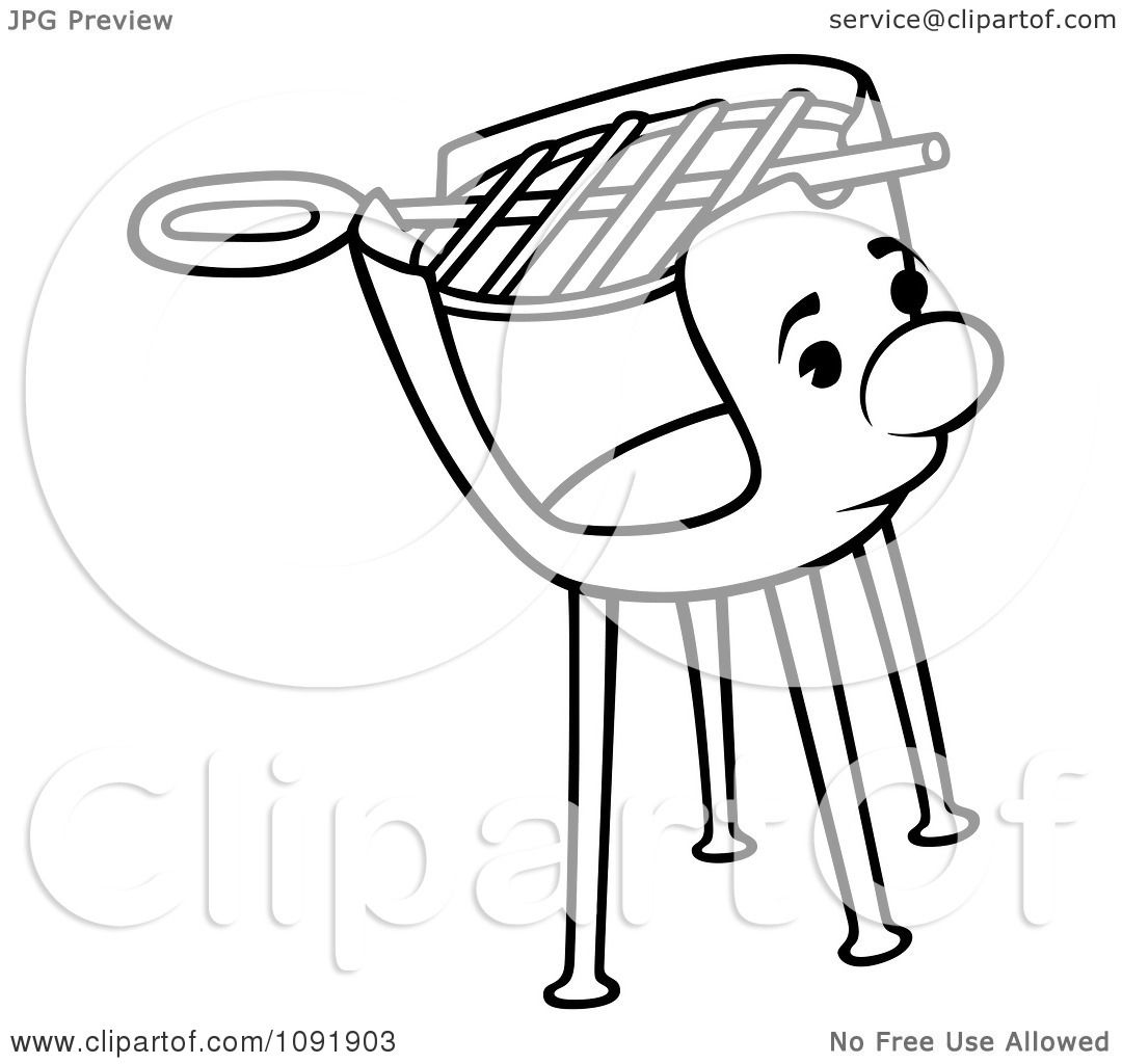 Clipart Outline Of A Charcoal Grill Character