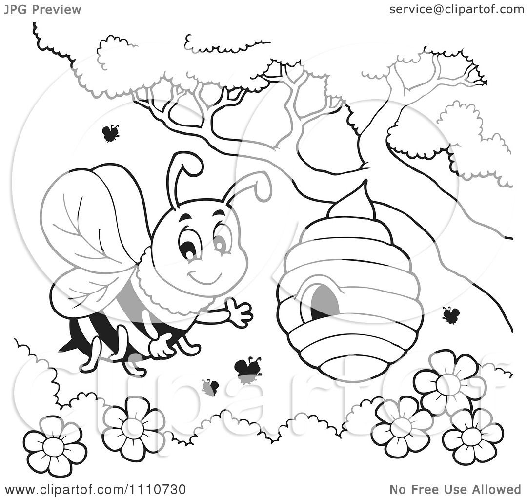 Clipart Outlined Bee Waving By A Hive