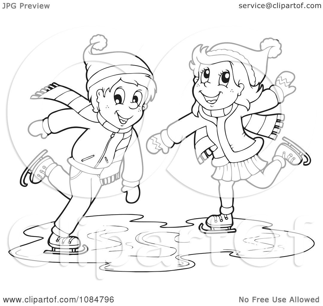 Clipart Outlined Boy And Girl Ice Skating
