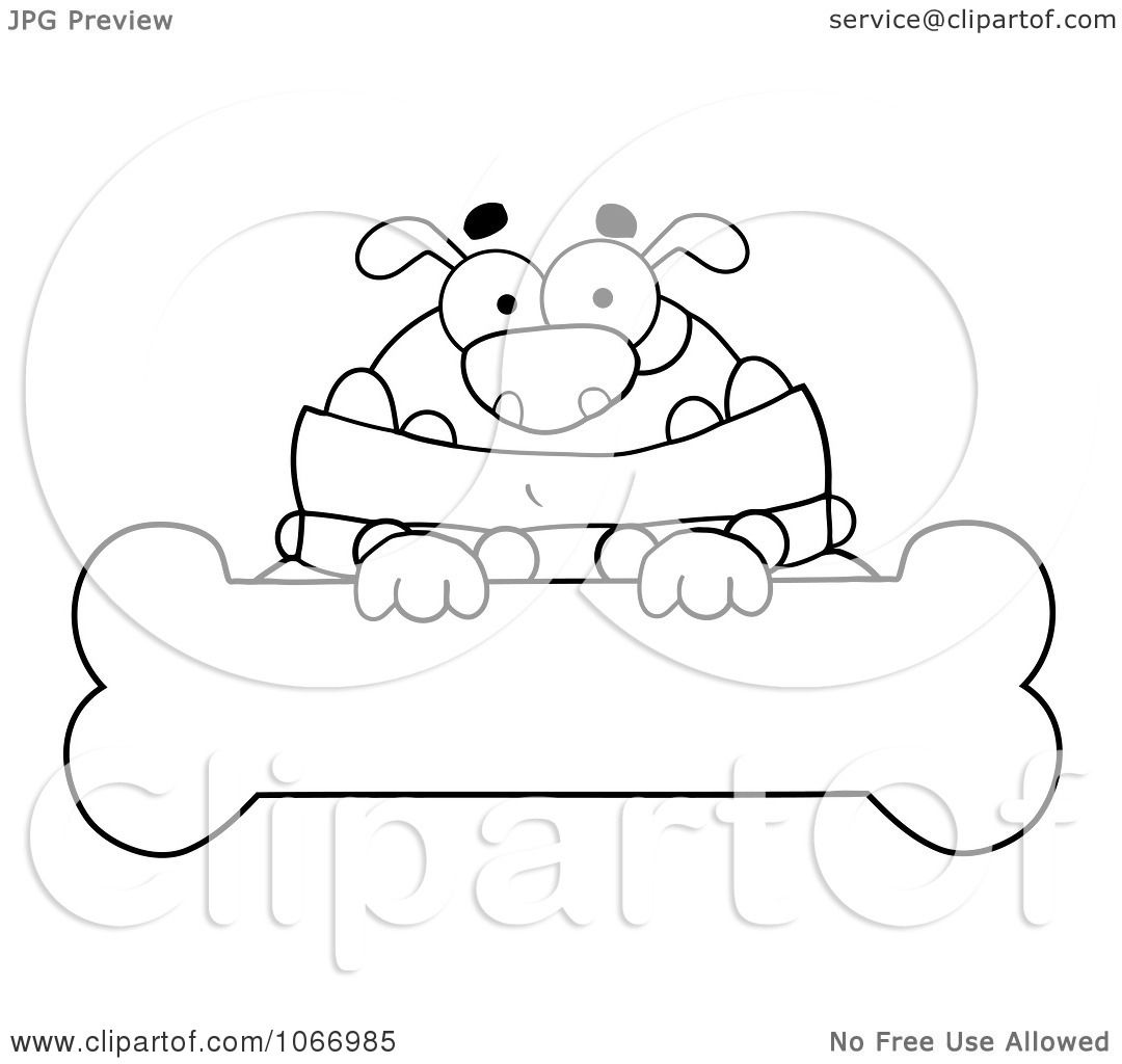 Clipart Outlined Bulldog And Bone Sign