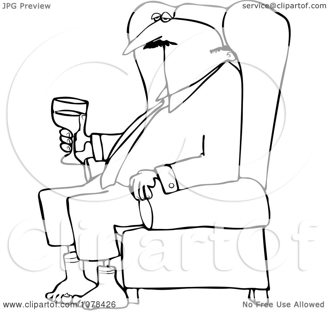 Clipart Outlined Businessman Relaxing With Wine After A