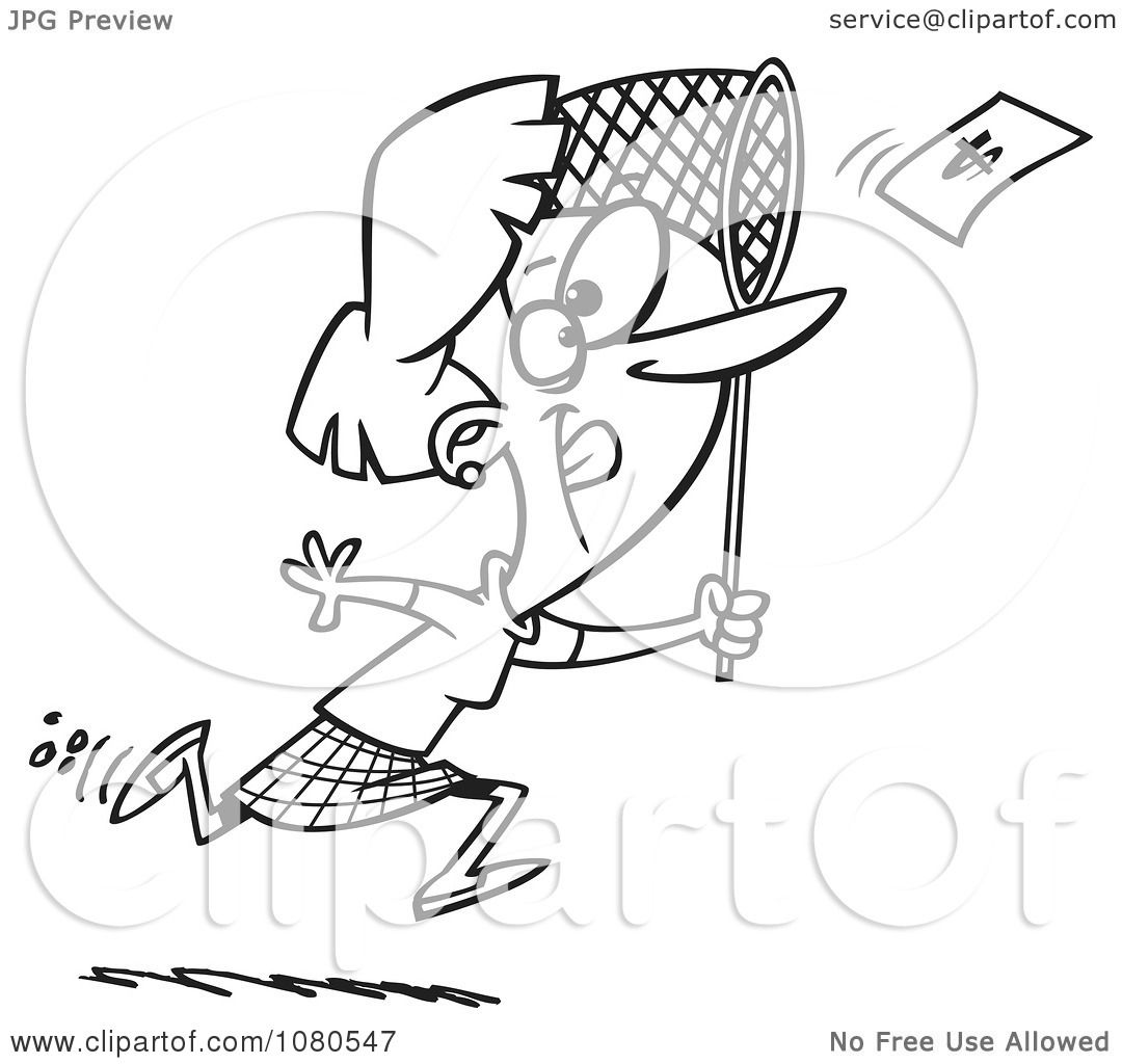 Clipart Outlined Businesswoman Chasing Money With A Net