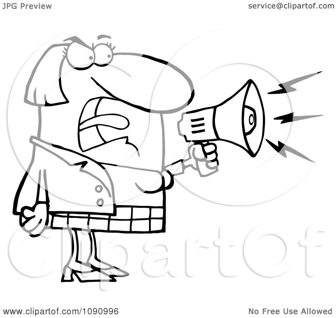 Clipart Outlined Businesswoman Shouting Bossy Remarks