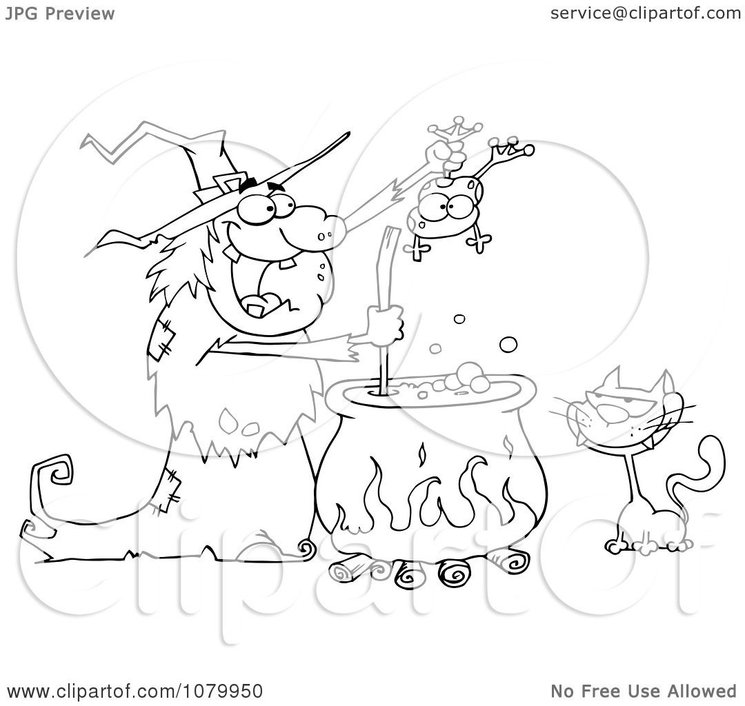 Clipart Outlined Cat Watching An Ugly Halloween Witch