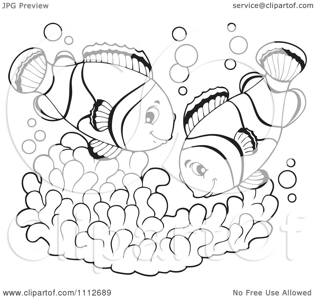 Clipart Outlined Clownfish Pair Over Soft Corals