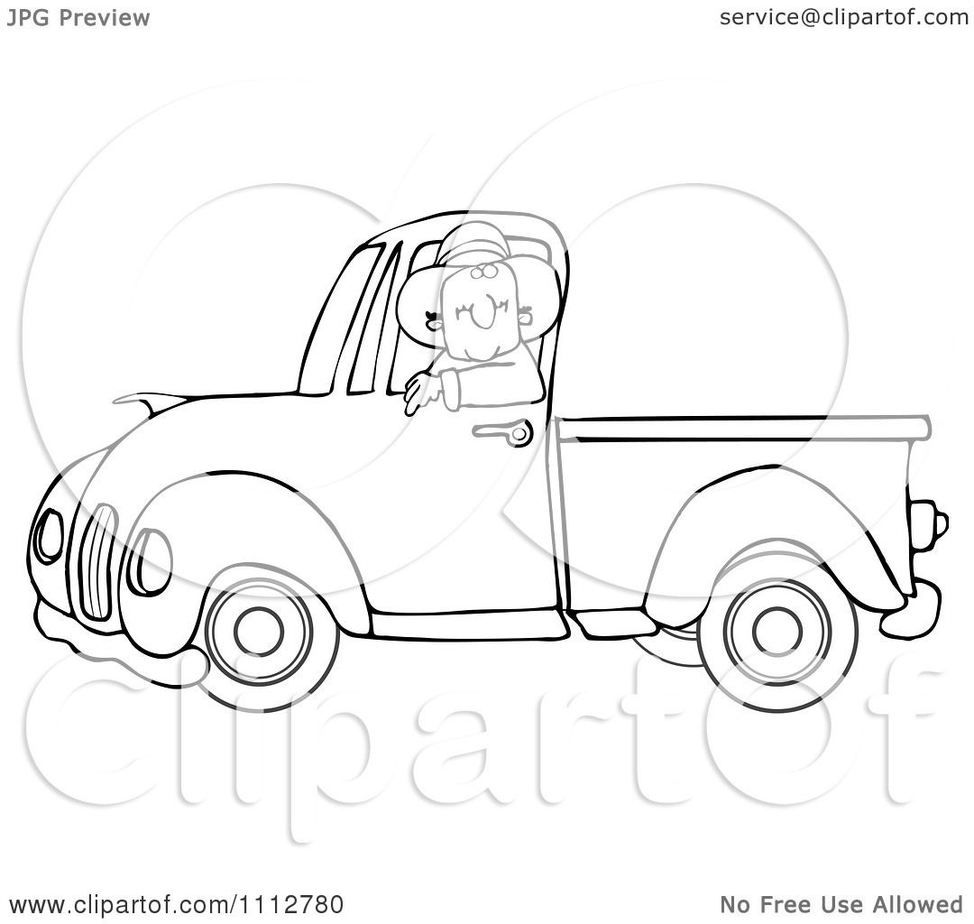 Clipart Outlined Cowboy Driving A Blue Pickup Truck