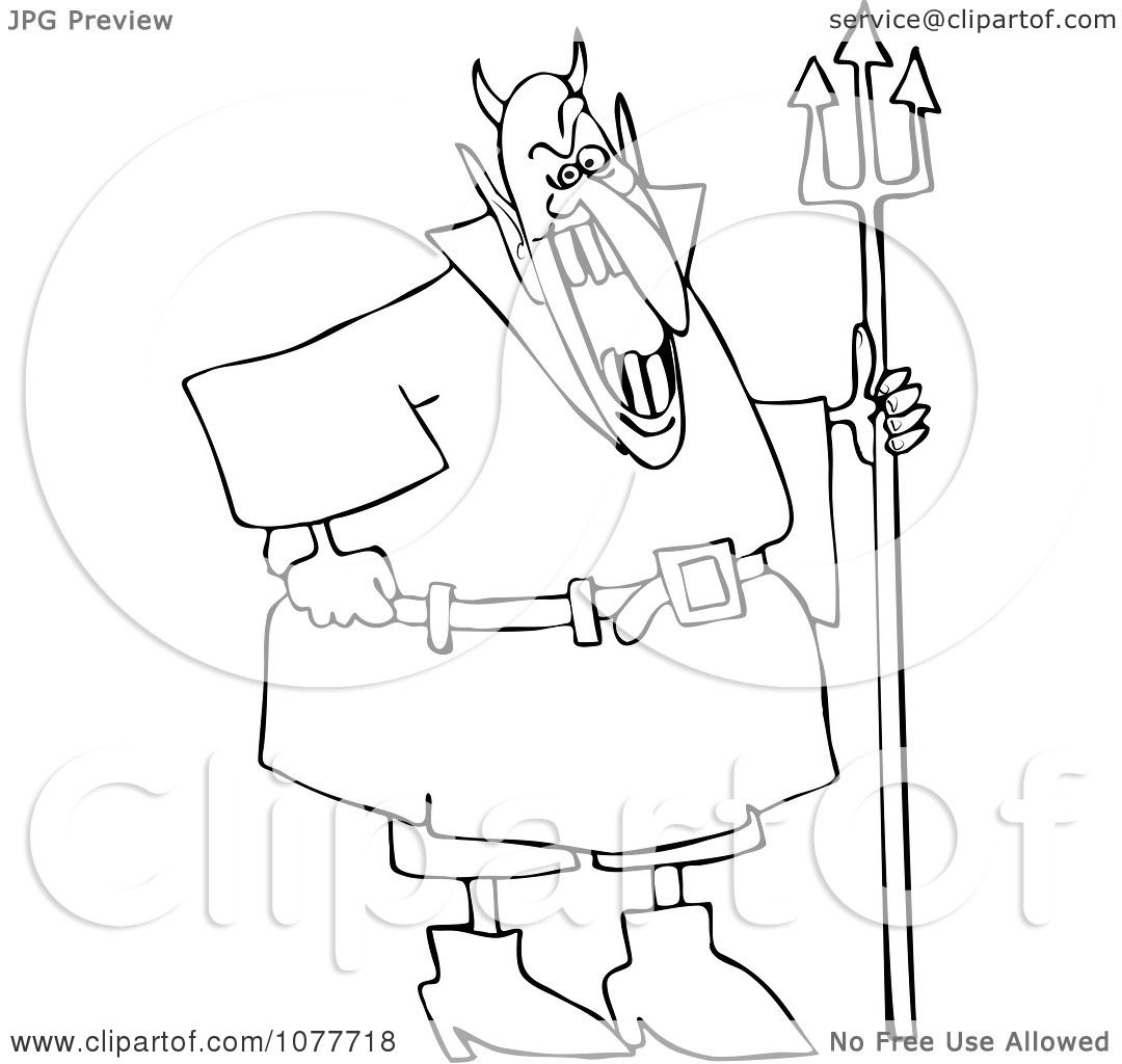 Clipart Outlined Devil Laughing And Holding A Pitchfork