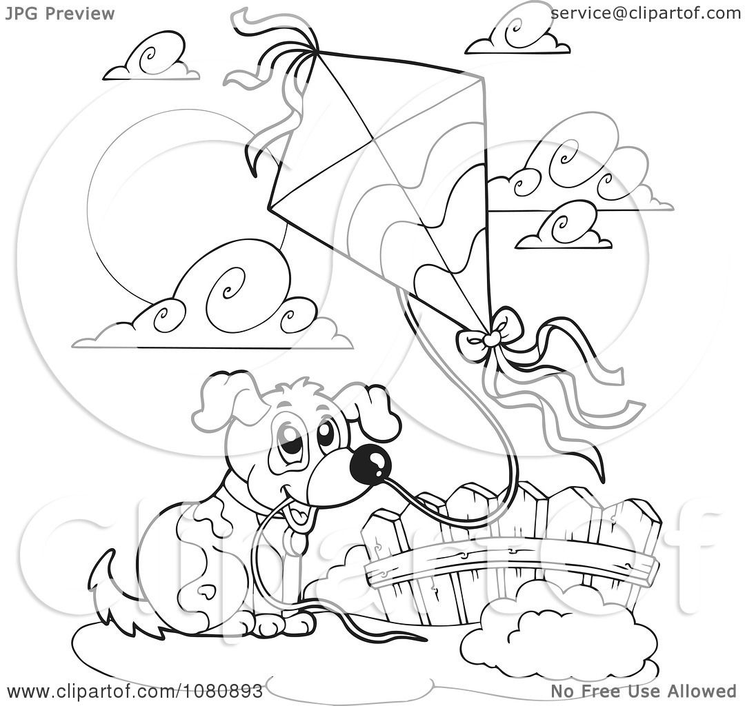 Clipart Outlined Dog Flying A Kite