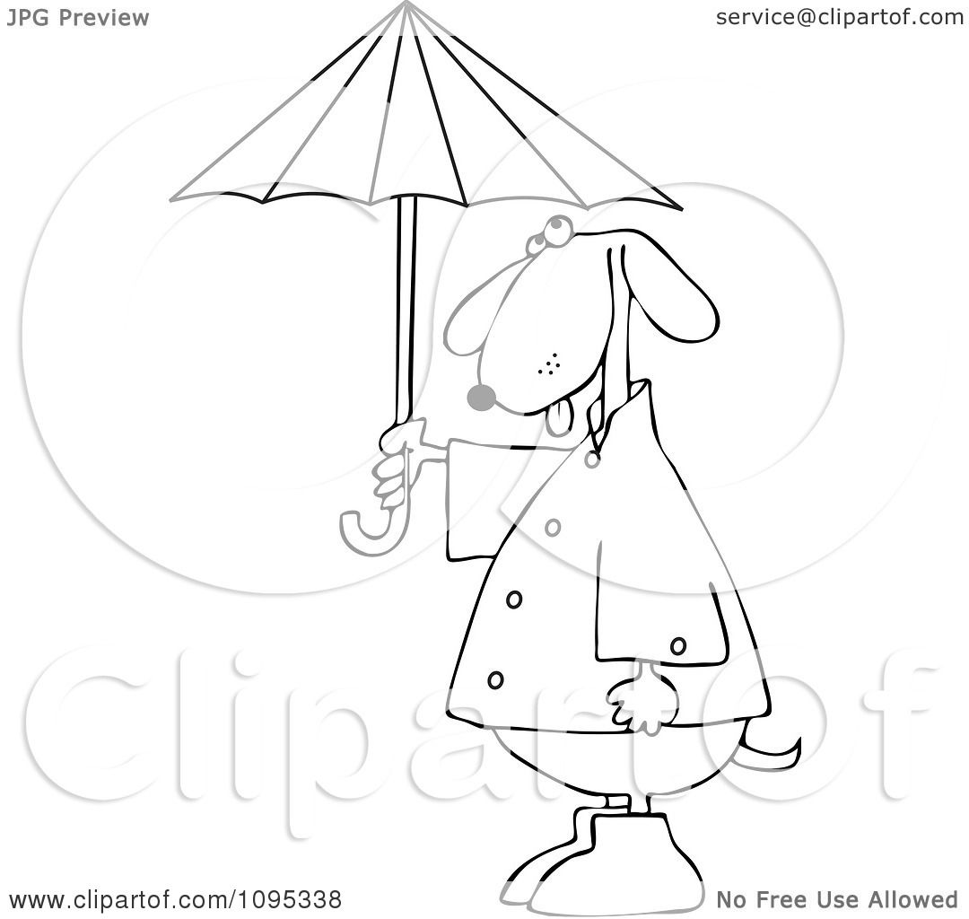 Clipart Outlined Dog Standing Upright In Rain Gear And
