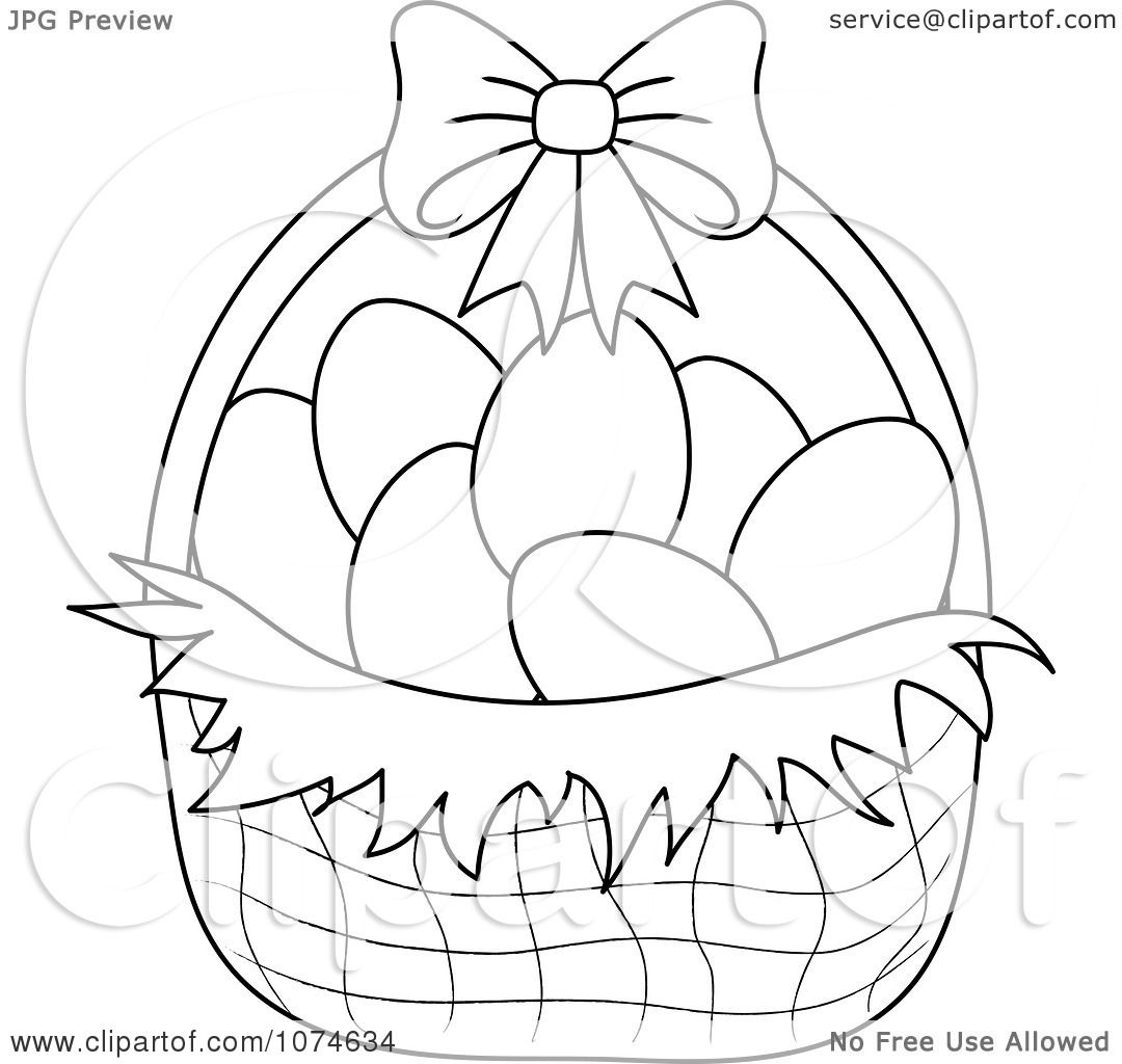Clipart Outlined Eggs In An Easter Basket