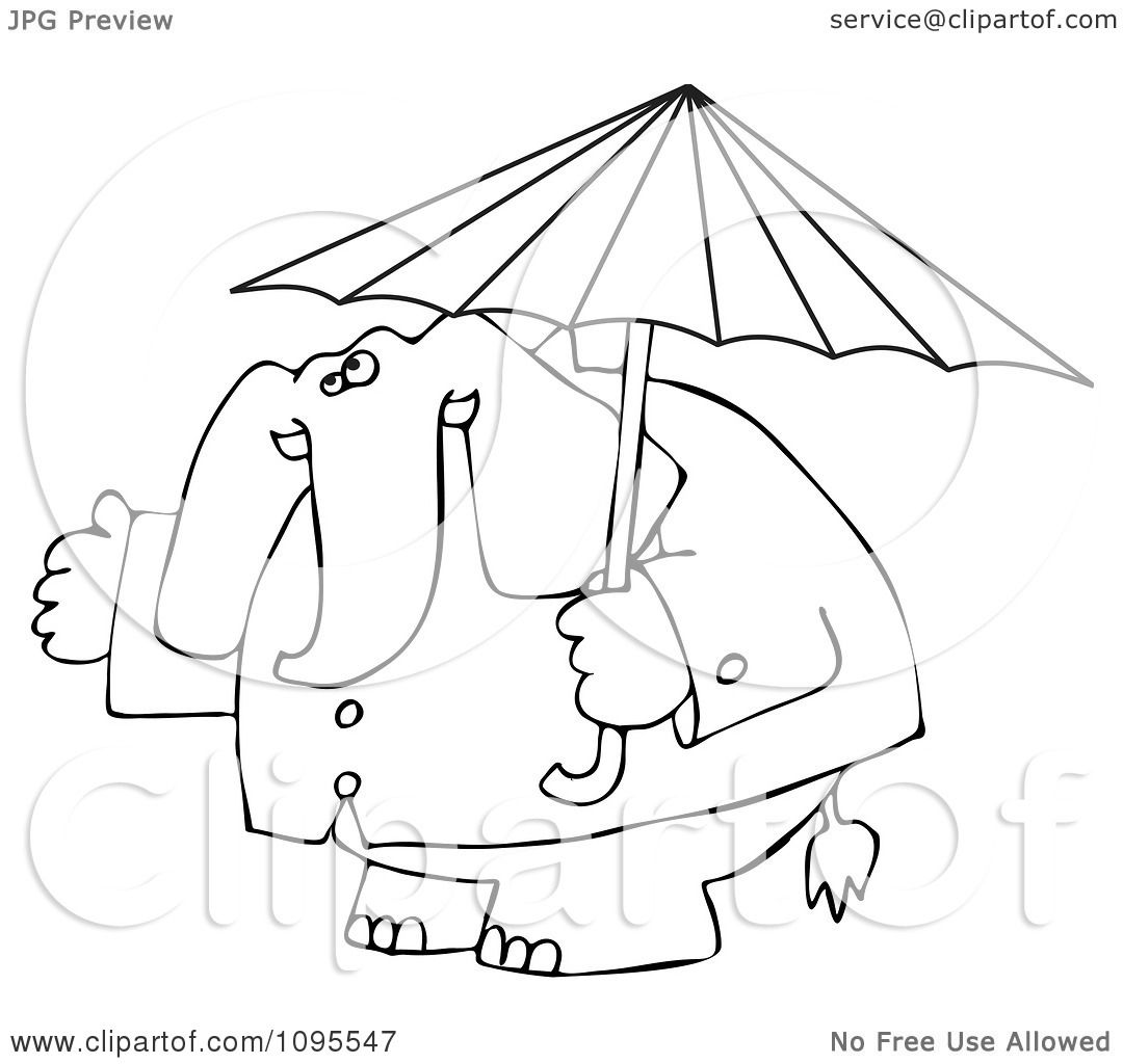 Clipart Outlined Elephant In A Rain Coat Under An Umbrella