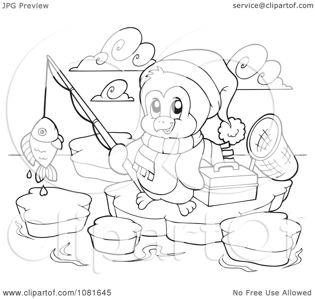 Clipart Outlined Fishing Christmas Penguin