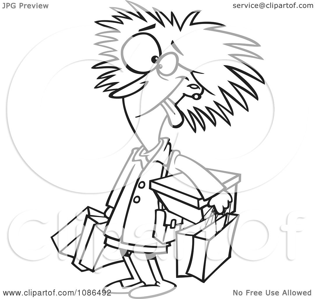 Clipart Outlined Frazzled Black Friday Shopper Woman