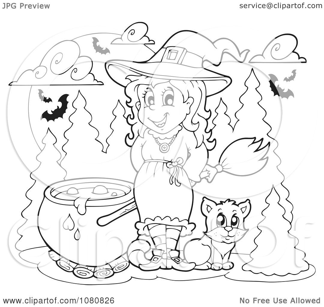 Clipart Outlined Halloween Witch With A Cauldron