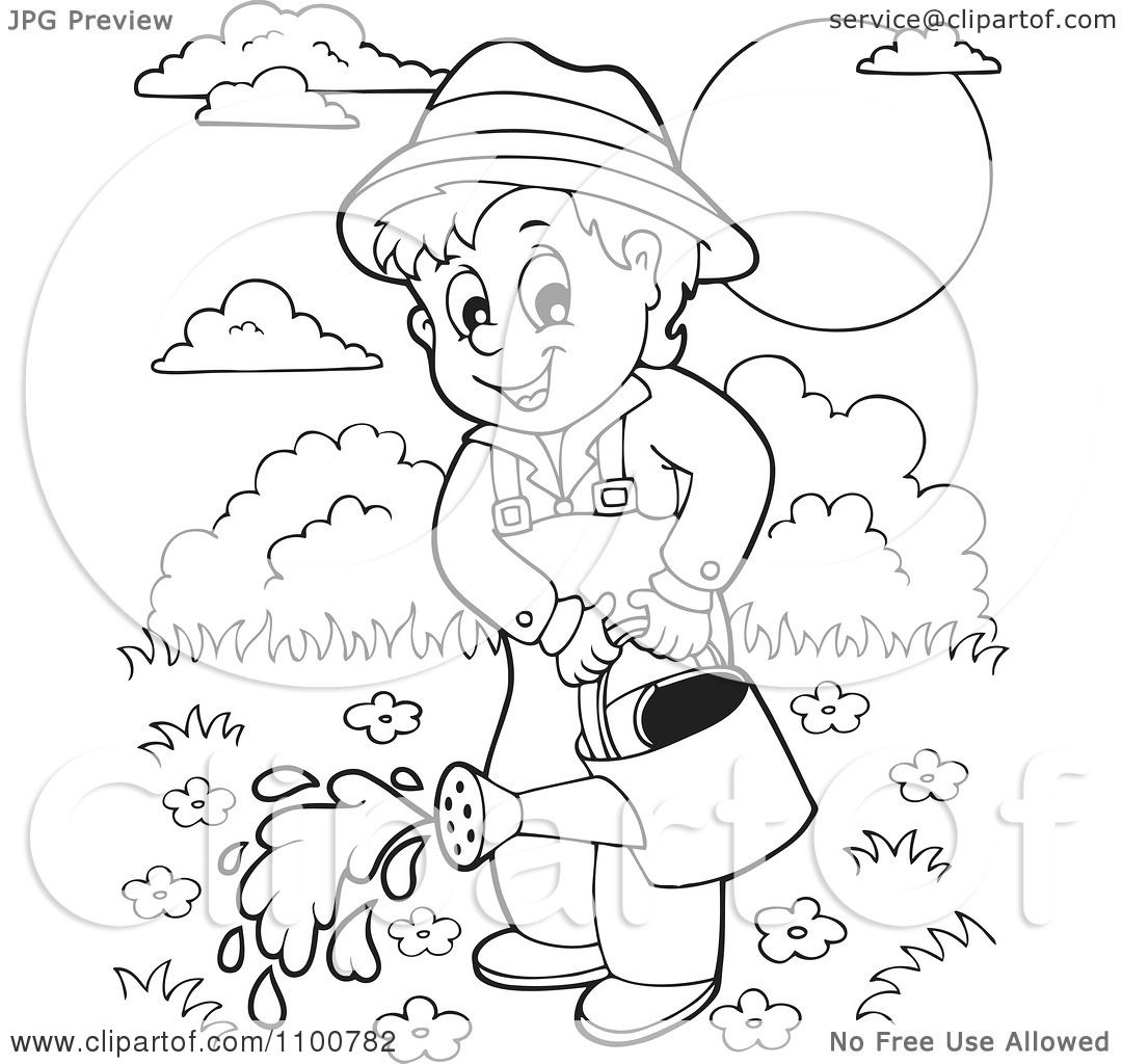 Clipart Outlined Happy Gardener Watering His Plants