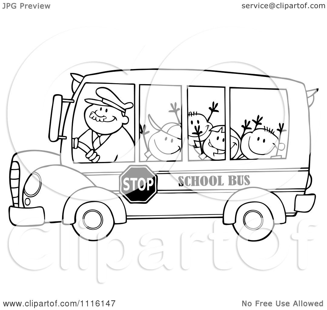 Clipart Outlined Happy School Bus Driver And Children