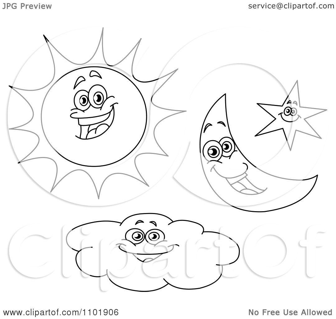 Clipart Outlined Happy Sun Crescent Moon Star And Cloud