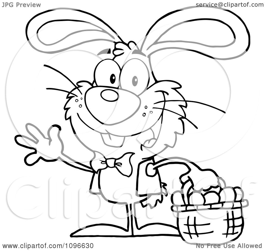 Clipart Outlined Happy Waving Easter Bunny Carrying A