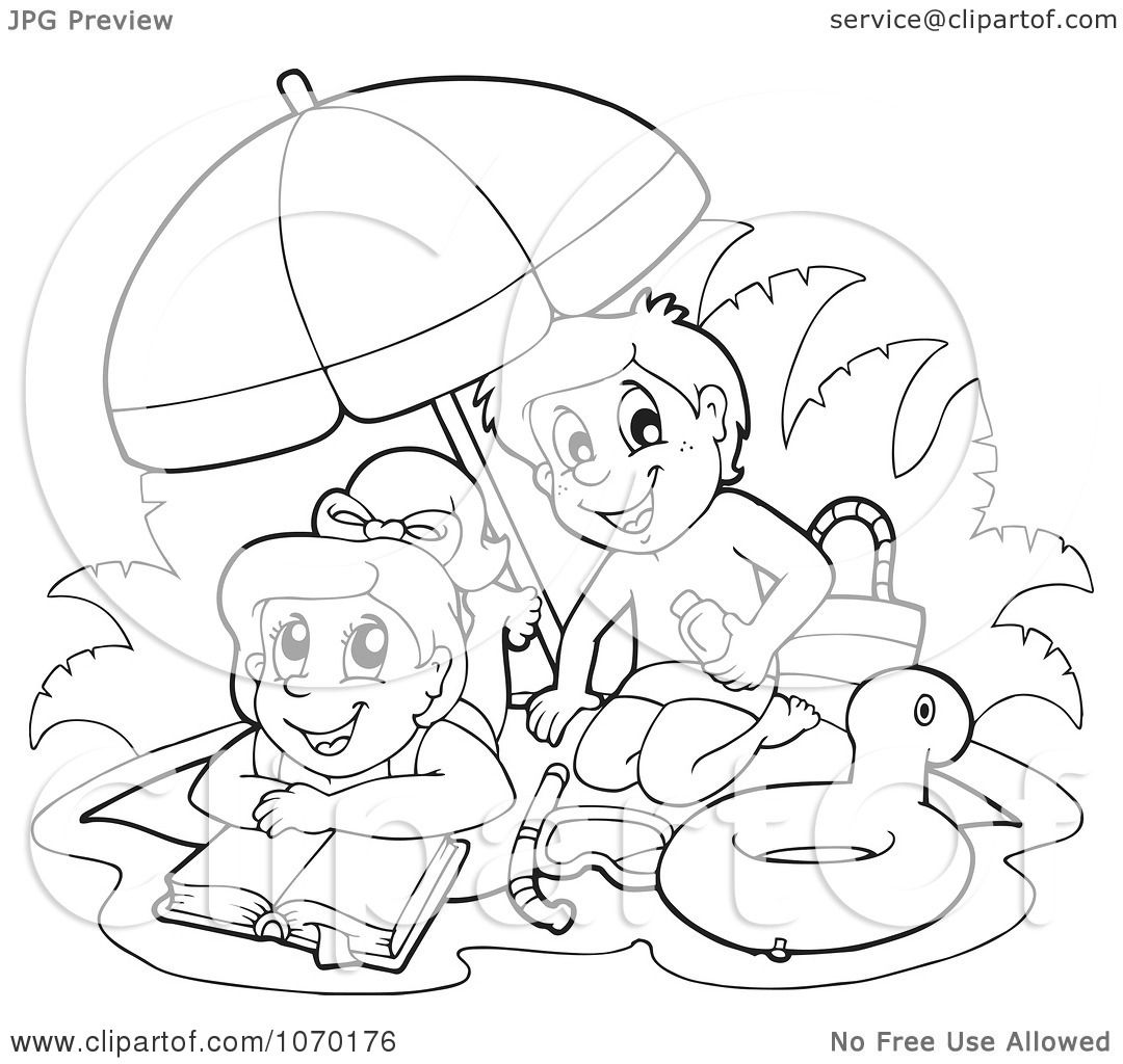 Clipart Outlined Kids Reading And Playing On A Beach