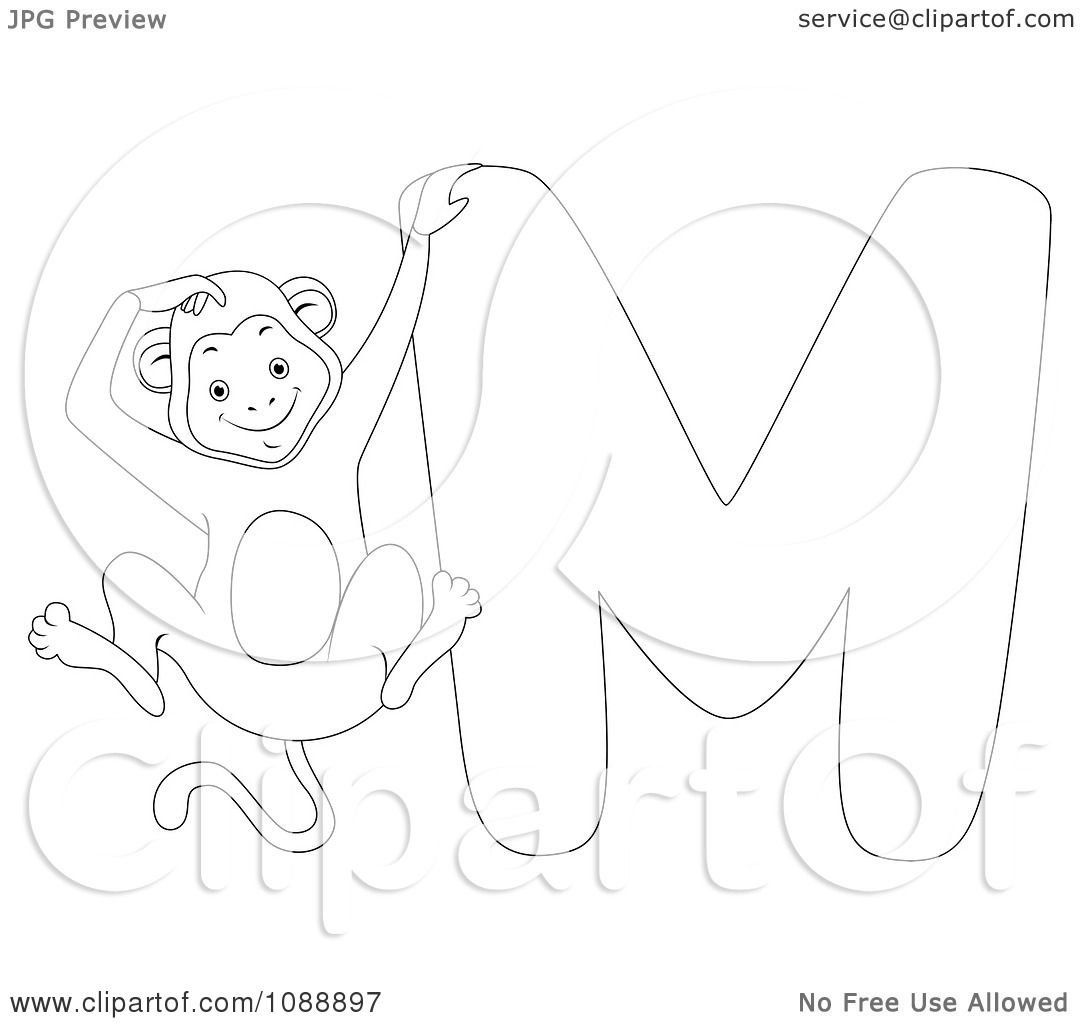 Clipart Outlined M Is For Monkey Coloring Page