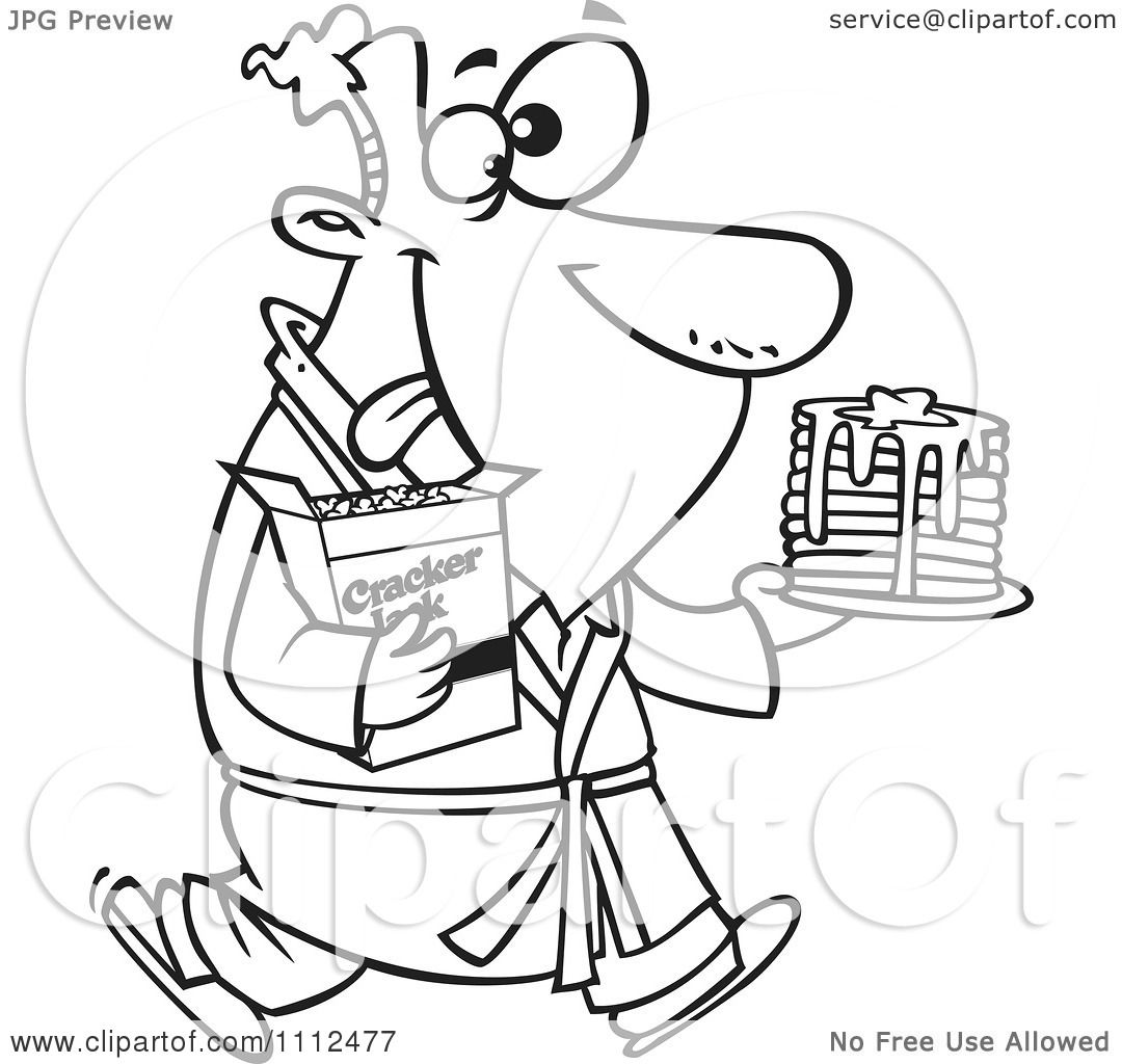 Clipart Outlined Man Eating Pancakes And Cracker Jacks For