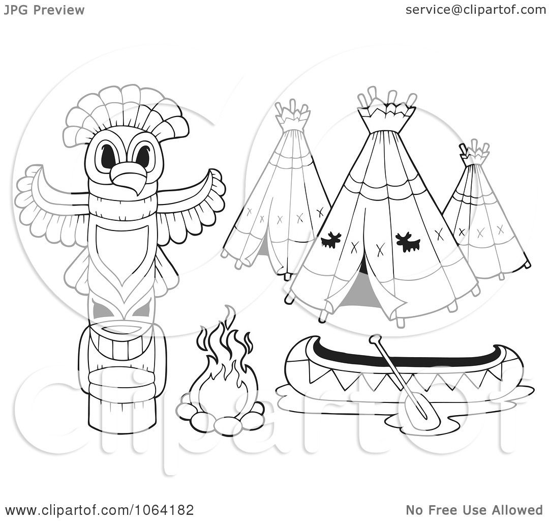Clipart Outlined Native American Camp Items