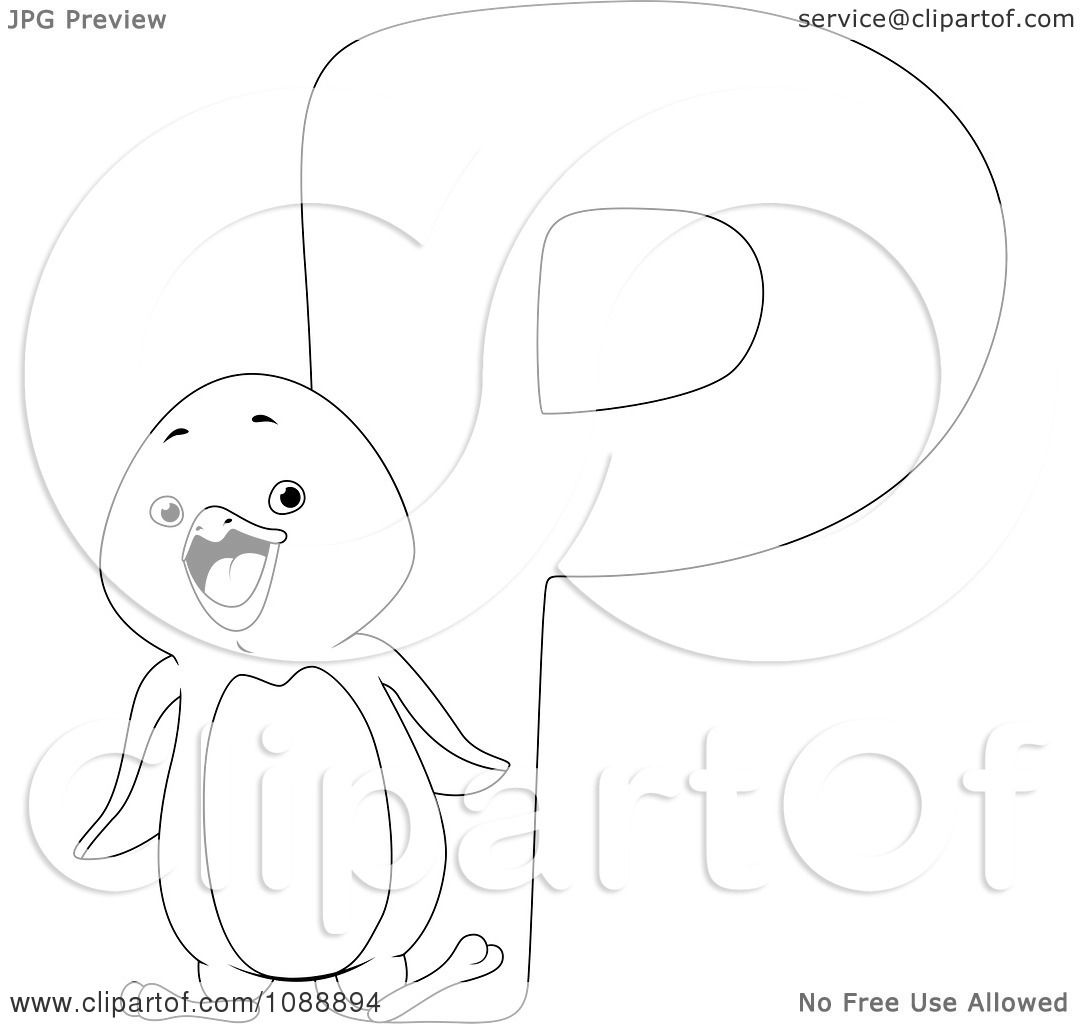 Clipart Outlined P Is For Penguin Coloring Page