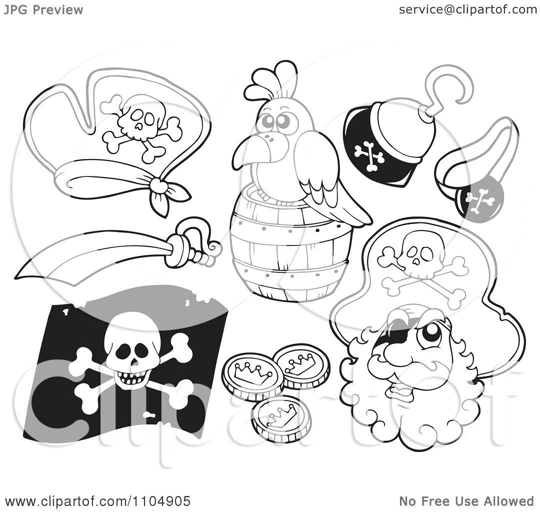 Clipart Outlined Pirate Hat Parrot Hook Hand Sword Flag