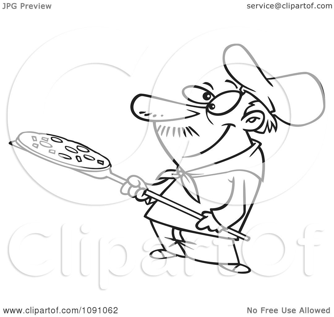 Clipart Outlined Pizza Man Holding A Pie